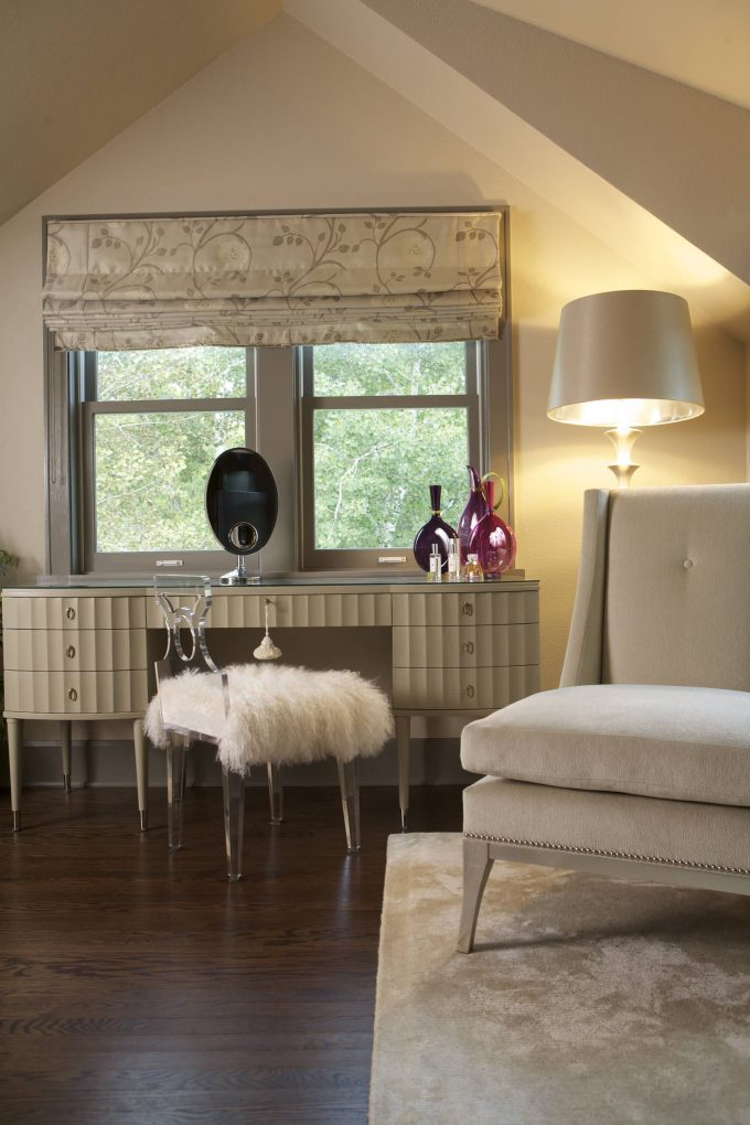 Beige Desk With Lucite Chairs Plus White Fur Throw Also Barbara Barry And Beige Armchair With Beige Floor Lamp And Beige Roman Shade Also Beige Window Trim With Dark Wood Flooring