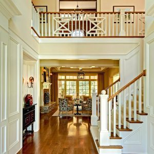 Beige Molding And Beige Paneling Plus Beige Stair Railing Also Red Oak Flooring With Carpet Stair Runner And Hallway For Traditional Entry Designs Plus Baseboard Also Wall Sconce