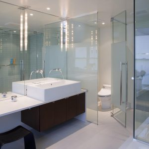 Bench Seat And Glass Shower Enclosures With Dark Stained Wood For Floating Cabinet Plus Frosted Glass And Walk In Shower Ideas Also Vessel Sink With Wall Mounted Faucet And Water Closet