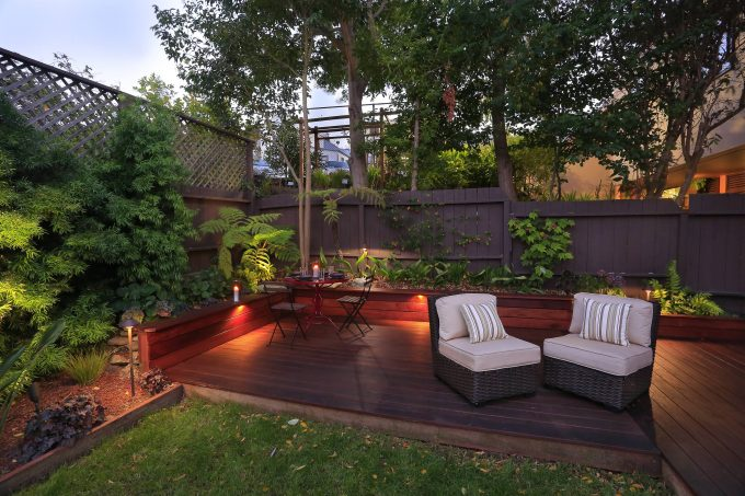 Bench Sitting With Seat Cushion And Decking Plus Dining Furniture And Landscape Lighting Also Deck Lighting With Led Outdoor Lighting And Planter Box On Concrete Flooring Also Wood Fence