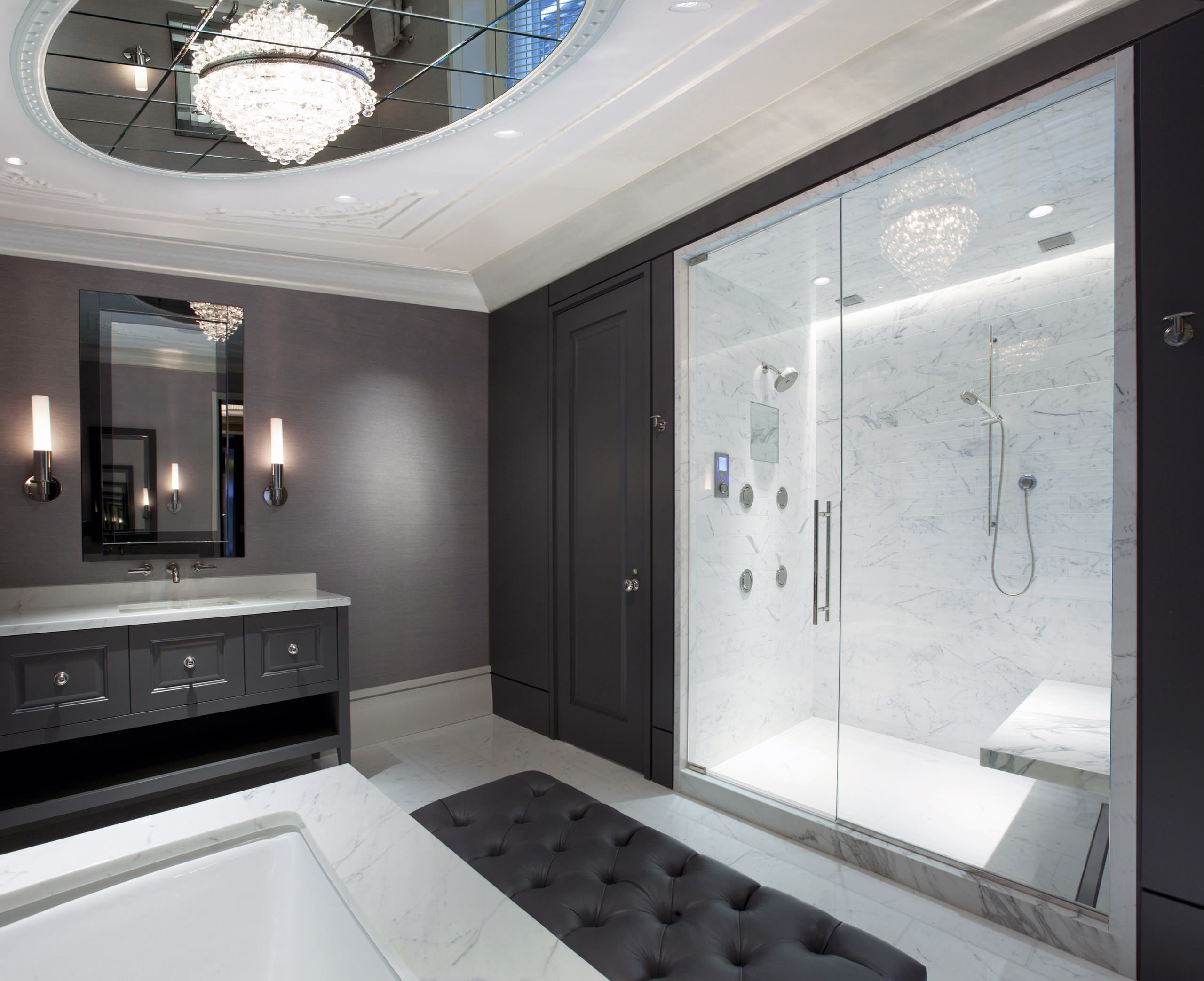 Architecture beveled mirror and modern ceiling light with mirror beveled mirror and modern ceiling light with mirror ceiling plus custom cabinet and floating bench also glass shower enclosure with marble tile and marble dailygadgetfo Choice Image
