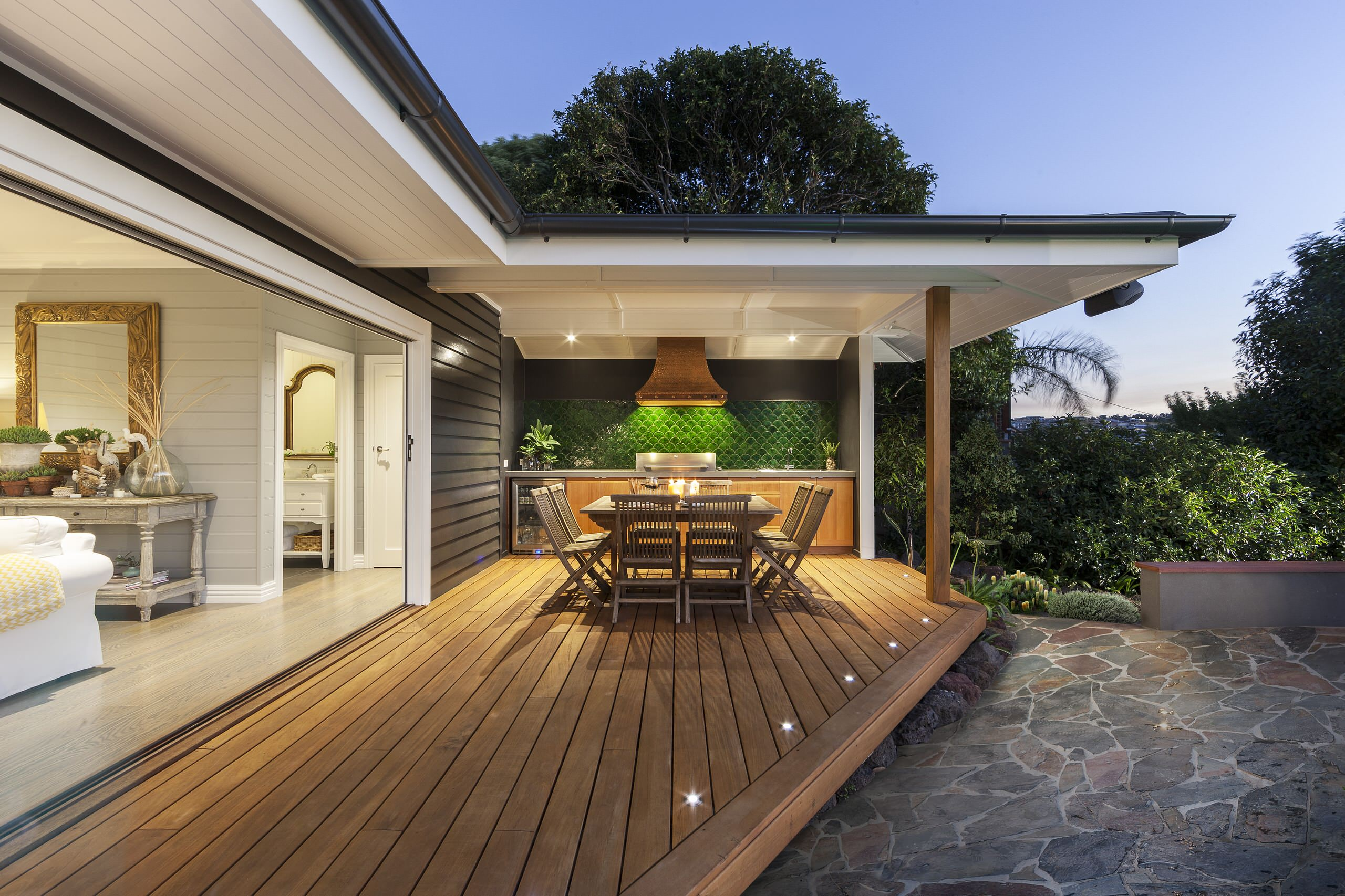 Decorating Bi Fold Windows And Covered Deck For Outdoor Kitchen