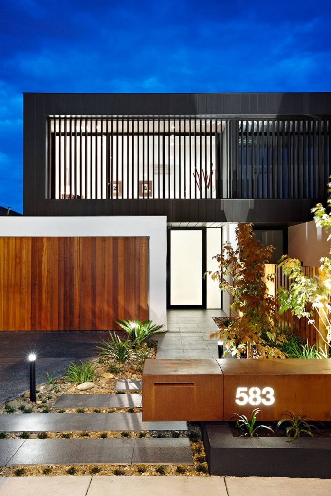 Black And White Entrance For Modern Home With Black Drive Way And Modern Mailboxes Also Custom Planter Plus Feature Lighting With Geometric Design And Modern Exterior Plus Outdoor Lighting