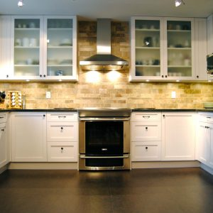 Blinds And Frosted Glass For Glass Front Cabinets Also Pendant Lights With Recessed Panel Cabinets Plus Stainless Appliances And Backsplashes With Black Tile Flooring And White Cabinets
