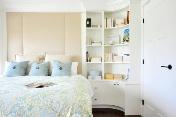 Bookcase Bed In Transitional Bedroom Plus Curved Bookcase And Fabric Headboards Also Blue Pillow With Storage Shelves Also Corner Shelf Unit On Dark Wood Flooring And Crown Molding
