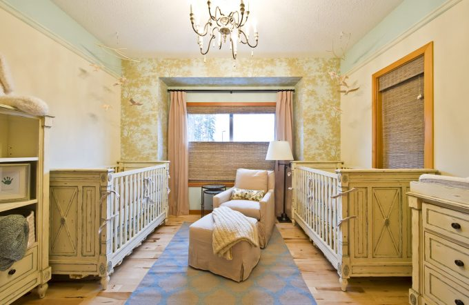 Bottom Up Roman Shades And Foyer Chandelier In Cozy Traditional Nursery Plus Restoration Hardware Furniture In Small Space With Wall Covering And Hunter Douglas Blinds Also Wood Flooring