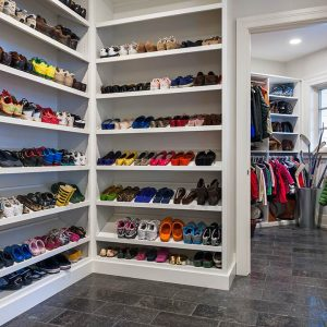 Brick Flooring Ideas Plus Coat Closet And Shoe Racks Also Storage With White Closet For Traditional Closet Plus Window Treatment And Recessed Lighting Also White Wall In Farmhouse