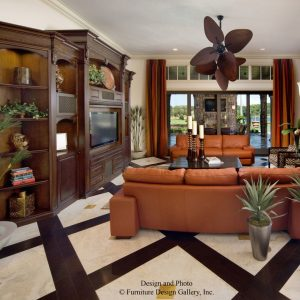 Brown Leather Sofa With Coffee Table And Sconces For Tropical Living Room Design With Custom Entertainment Centers And Contemporary Curtain Plus Modern Floor Lamp Also Tile Flooring