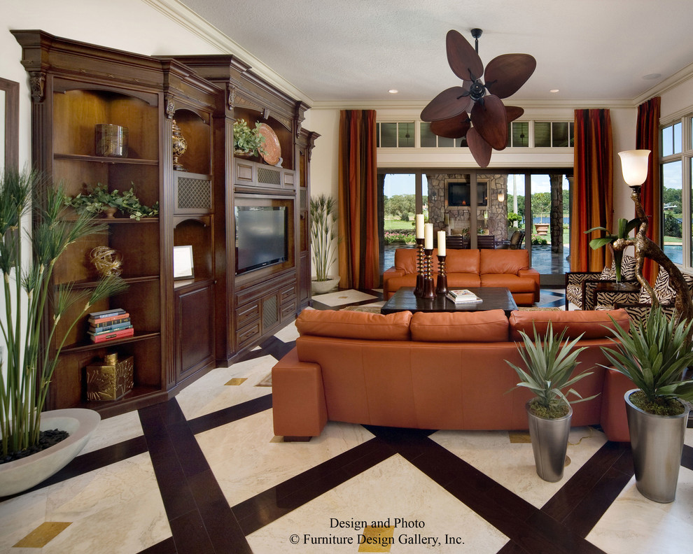 Custom Entertainment Centers for Inspiring Storage Ideas: Brown Leather Sofa With Coffee Table And Sconces For Tropical Living Room Design With Custom Entertainment Centers And Contemporary Curtain Plus Modern Floor Lamp Also Tile Flooring