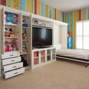 Built In Armoire With Drawers And Tv Credenza Also Murphy Bed With Beige Carpeting And Wall Decal Plus Plantation Shutters For Kids Room Decorating Ideas