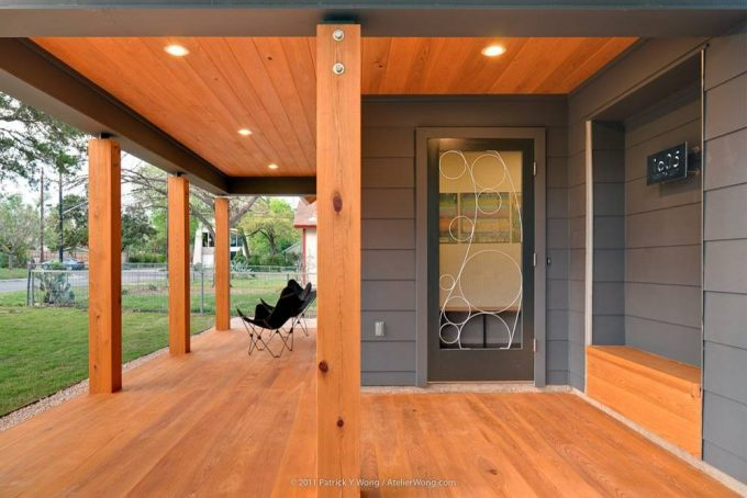 Built In Bench In Contemporary Entry Plus Glass Door And House Numbers Also Recessed Lights With Wood Ceiling And Wood Flooring Ideas Plus Eames Outdoor Chairs Also Wood Pillar