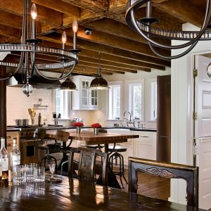 Built In Cabinets And Contemporary Chandelier In Country Home With Dining Room Table And Exposed Beams Also Low Ceilings Plus Pendant Lighting For Kitchen Renovation Ideas With Restorationhardware