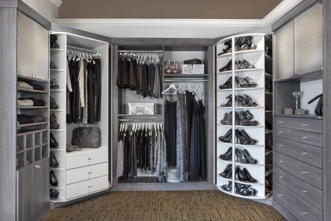 Cabinet Lazy Susan And Closet Organization With Gray And White Plus Hanging Rods For His And Hers With Shoe Racks Also Frosted Glass For Cabinet Doors Plus Drawers With Knob Crystal