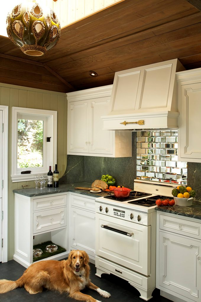 Cabinetry And Beveled Mirror For Backsplash Plus Range Hood Also Recessed Lighting For Remodel Small Kitchen Ideas With White Appliances And Wood Ceiling In Eclectic Kitchen