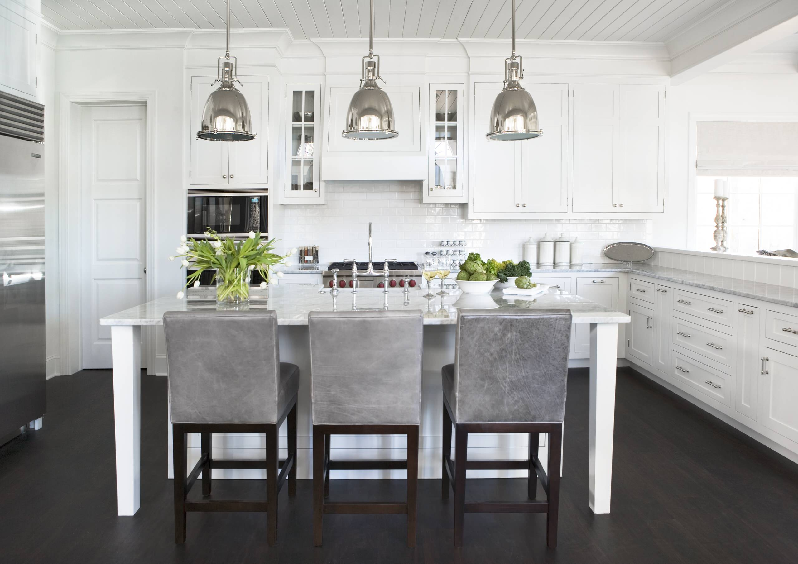 Tongue and groove kitchen cabinets - Cabinets In Contemporary Kitchen Plus Counter Stools With Dark Wood Flooring And Tongue And Groove Ceiling Plus Industrial Pendant Lighting Also Glass