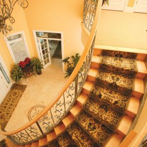 Carpet Runner For Traditional Staircase In Entrance Plus Floor Medallion With Floor Tile Design Also Foyer Chandelier And French Doors Plus House Plants With Stark Carpet For Spiral Staircase