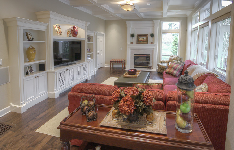 Custom Entertainment Centers for Inspiring Storage Ideas: Coffered Ceiling With Fireplace Design And Custom Entertainment Centers In Traditional Living Room With Sectional Sofa And Ottoman Coffee Table Plus Wood Tile Flooring Also Sisal Carpet