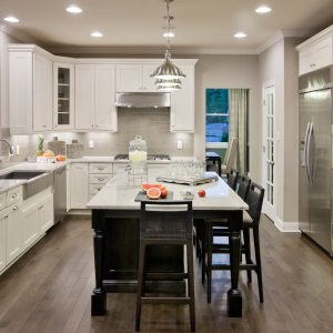 Comfortable Traditional Kitchen With Breakfast Bar For Family Friendly Plus Kitchen Island Lighting With Pendant Lights And Recessed Lighting Also Dal Tile Plus Stainless Steel Hardware