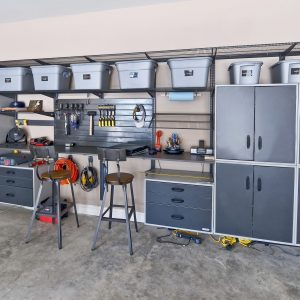 Concrete Floor For Contyemporary Garage And Shed Plus Counter Stools And Floating Cabinets Also Garage Storage With Storage Bins Plus Storage System And Tool Storage With Wall System