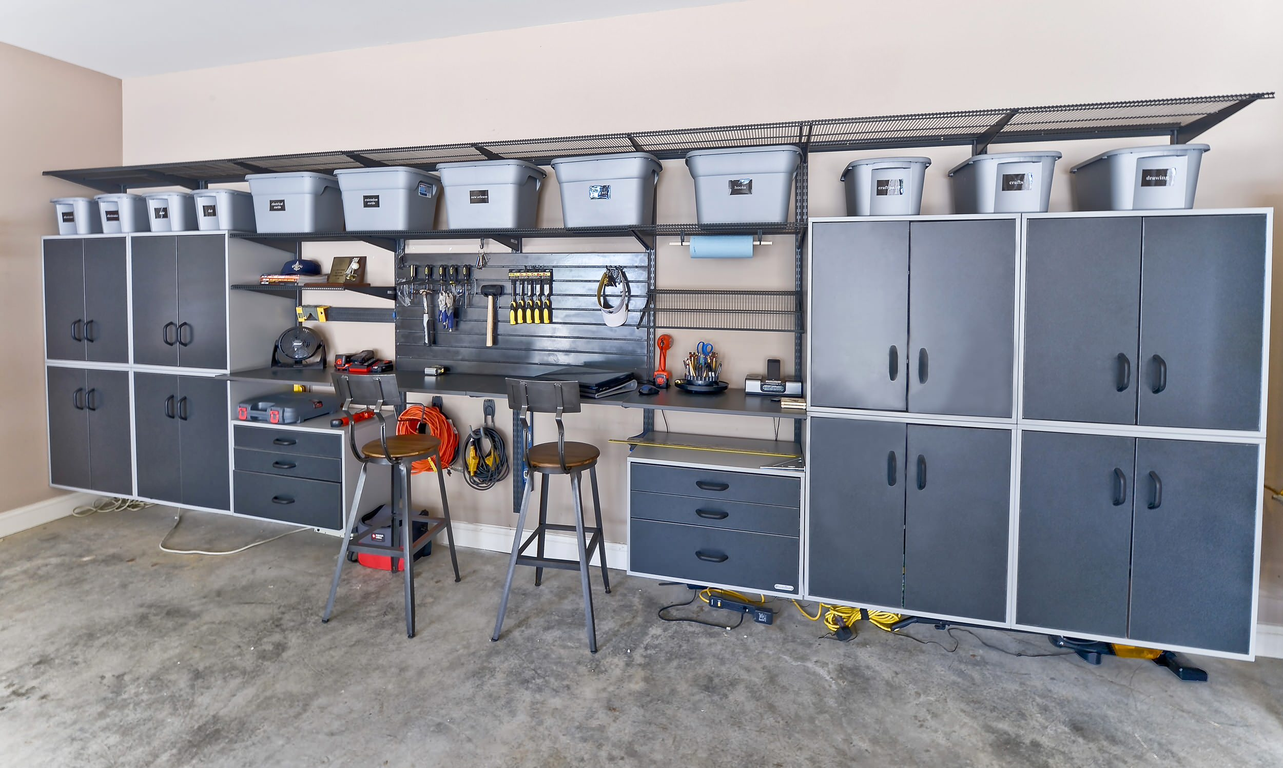 Concrete Floor For Contyemporary Garage And Shed Plus Counter Stools And  Floating Cabinets Also Garage Storage With Storage Bins Plus Storage System  And ...
