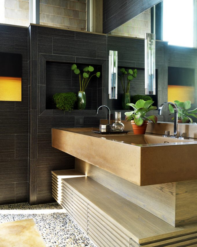 Contemporary Bathroom Plus Unique Bathroom Vanities And Black Tile Wall Also Concrete With Double Bathroom Sink For Guest House Bathroom Plus Wall Sconce And Houseplants