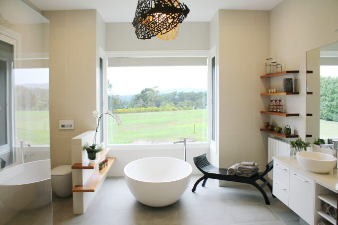 Contemporary Bathroom With Apaiser Bath And Free Standing Bath Tubs For Asian Inspired Plus Bathroom Feature Light Also Neutral Bathroom With Stone Bath Flooring Plus Houseplant