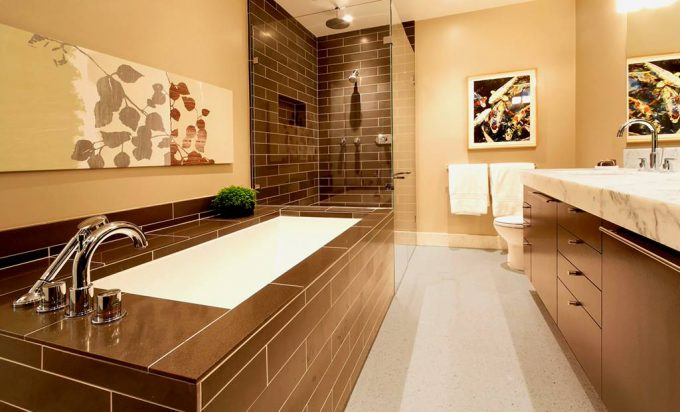 Contemporary Bathroom With Brown Tiles And Marble Countertop For Vanity Plus Undermount Sink Also Walk In Shower For Bathroom Remodeling With Recessed Lighting And Stainless Steel
