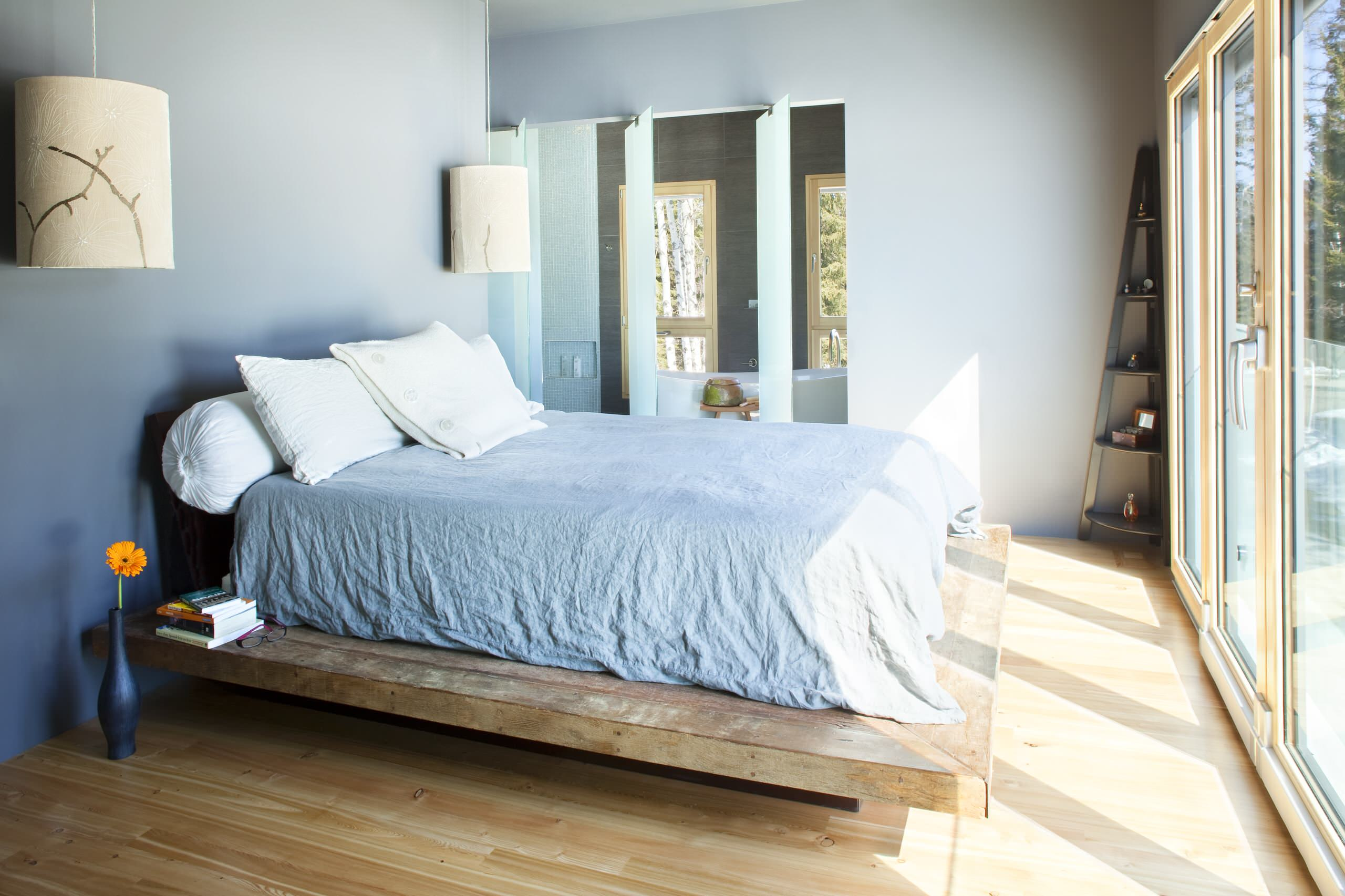 Bedroom: Contemporary Bedroom With Blue Wall Plus Ceiling Light And ...
