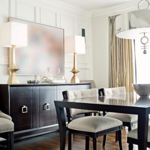 Contemporary Dining Room With Elizabeth Metcalfe Interiors And Design In Gresham House Plus Hickory Chair And Glass Dining Table Also Vanguard Furniture Plus Buffet Lamps