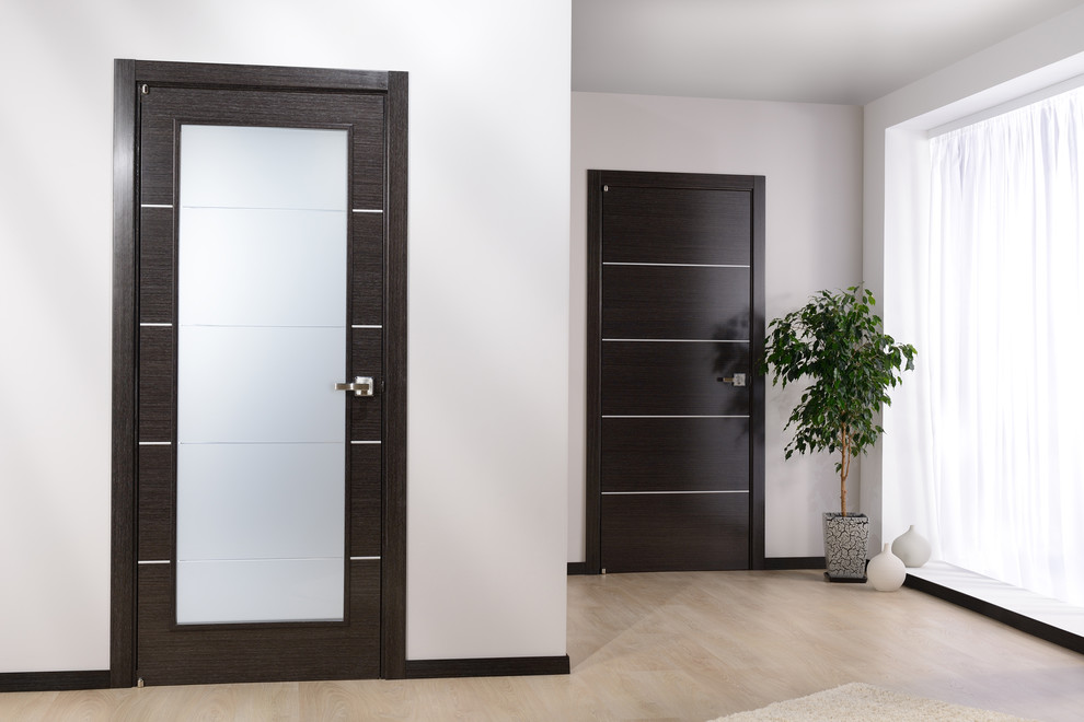 Inspiring Home Interior Using Modern Interior Doors: Contemporary Interior Design With Modern Interior Doors Plus Sheer Curtain And Interior Plant With Potted Ceramic On Polish Concrete Flooring And White Wall For Contemporary Entry