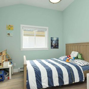 Contemporary Kids Plus Artwork On Blue Walls With Tiffany Blue Paint And Hardwood Flooring For Boys Room Plus Wood Bed And Dollhouse Also Striped Bedding With Small Window