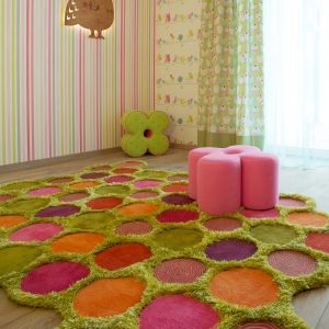 Contemporary Kids Room For Girl With Wallpaper Pattern And Contemporary Curtains Plus Owl Wall Decor With Ottoman With Modern Rugs And Wood Flooring