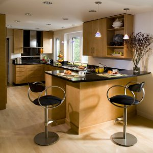 Contemporary Kitchen Plus Bar Stools And Kitchen Cabinets With Hardwood For Open Shelves Plus Pendant Lights Also Peninsula With Engineered Wood Flooring And Recessed Lighting