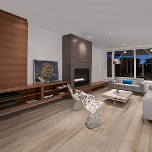 Contemporary Living Room With Hardwood Floor Colors Plus Wood Shelves And Fireplace With Wood Coffee Table Also Modern Sofa And Design Chairs Plus Arched Floor Lamp Also Recessed Lighting