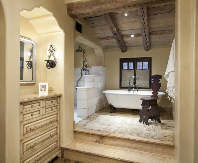 Cool Bathroom Design With Bathroom Dresser And Wall Mirror Also Wall Sconce And Wood Flooring With Claw Foot Tub Plus Rain Shower With Ceiling Beams And Recesssed Lighting