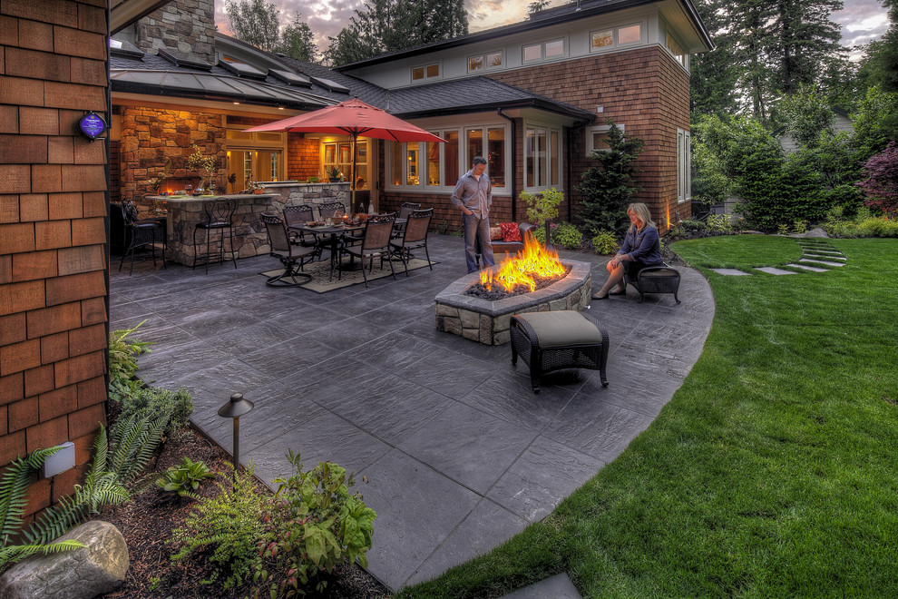 Covered Structure Plus Fire Pit And Small Garden Design For Mediterranean Courtyard With Outdoor Kitchen Plus Outdoor Lighting And Stamped Concrete Patio Also Paver Walkway Plus Synlawn