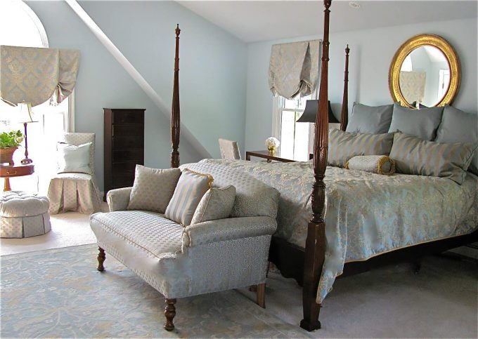Cozy Bedroom Ideas Plus Area Rug And Balloon Shades Also Bench With Tiffany Blue Paint For Traditional Bedroom Plus Four Poster Bed And Foot Of The Bed Also Round Mirror
