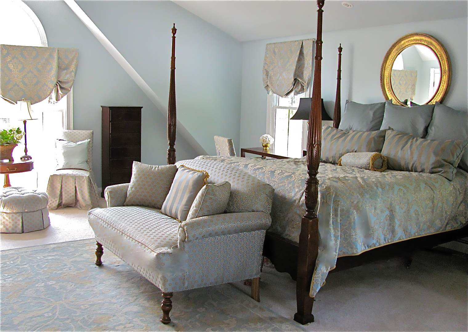 Cozy Bedroom Ideas Plus Area Rug And Balloon Shades Also Bench With Tiffany  Blue Paint For Traditional Four Poster Bed Foot Of The