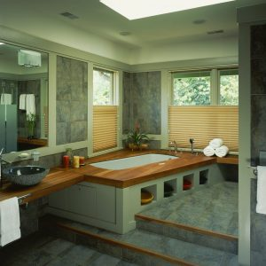 Craftsman Bathroom Plus Bathroom Storage And Bench With Hunter Douglas Blinds And Bowl Sink Also Bathroom Mirror Plus Skylight With Tiled Flooring And Tiled Wall Also Wood Accent