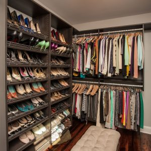 Craftsman Closet With Hardwood Flooring Plus Bench And Clothing Also Flushmount With Garments In Master Bedroom Closet Plus Shoe Racks Also Tufted Stool And Upholstered Bench