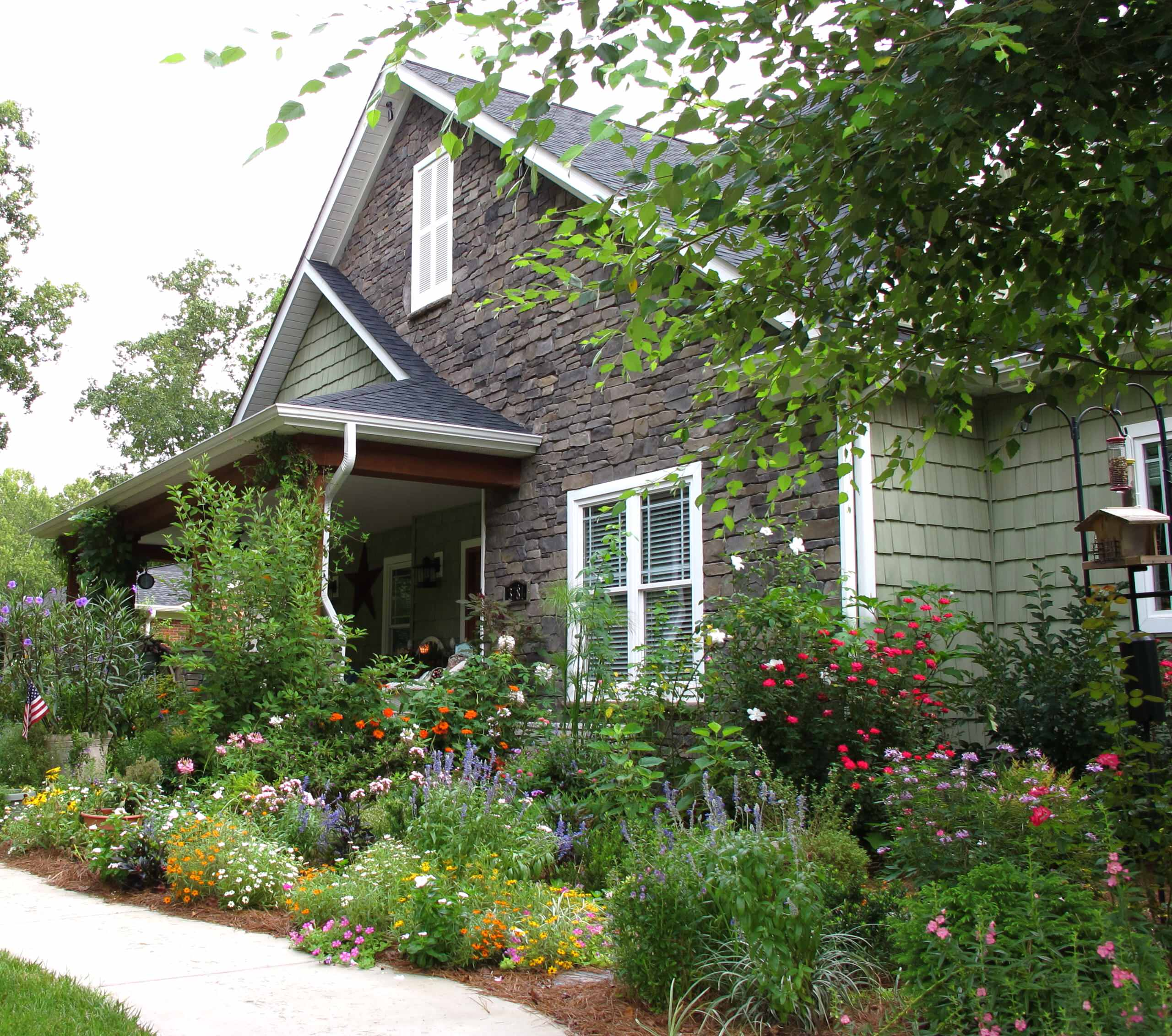 Beautiful Flower Bed For Landscape Ideas Craftsman Plus Bird House With Cottage Style And