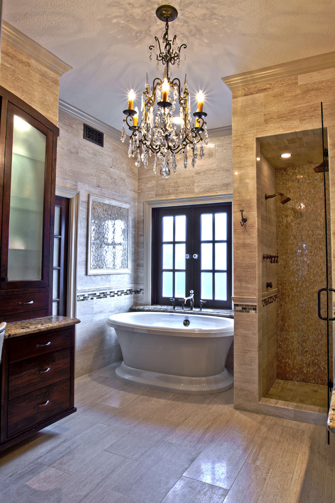 Crystal Chandelier In Master Bathroom Also Free Free Standing Bath Tubs For  Glamorous Bathroom With Glass Mosaic Shower Wall And Houston Bathroom Design  For ...