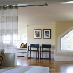 Curtain Designs For Cheap Room Dividers With White Sofa And Throw Pillows Also Wood Flooring With Armchairs And Window Trim Plus Interior Paint Ideas