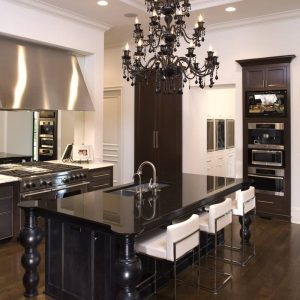 Custom Kitchen Islands With Kitchen Bar Stools And Pot Filler For Mediterranean Kitchen Design With Wood Tile Flooring And Copper Range Hoods Plus Black Chandelier Also Under Cabinet Microwave