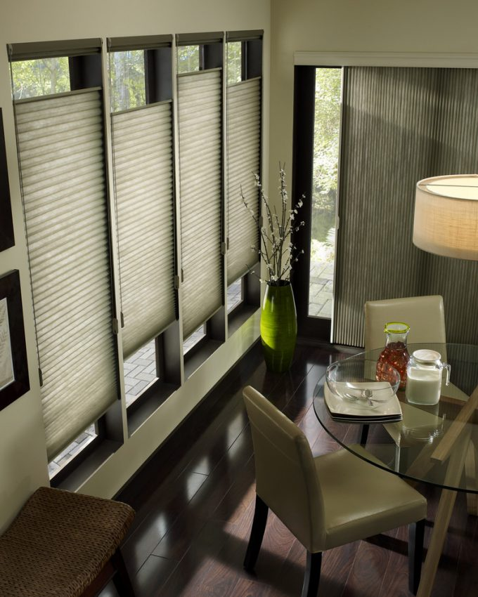 Custom Window Treatments With Hunter Douglas Blinds Also Energy Efficient Window Coverings In Contemporary Dining Room With Glass Round Dining Table And Leather Dining Chairs