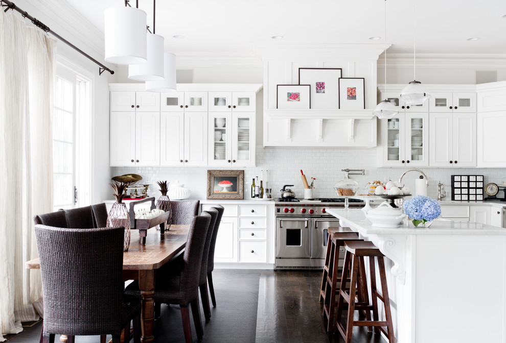 Dark Hardwood Floor With Kitchen Bar Stools And Rustic Dining Table In Traditional Kitchen With Upholstered Dining Chairs And Linear Chandelier Plus Kitchen Knobs Also Pot Filler