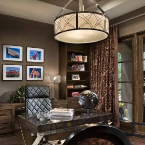 Dark Wall Plus Artwork And Built In Bookshelves Also Ceiling Light With Drum Chandelier In Contemporary Home Office Plus Desk And Quilted Leather Also Table Lamp