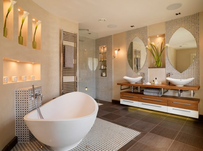 Decorating Bathroom Ideas With Bathroom Alcoves Plus Bathroom Flowers And Classic Contemporary With Dark Tile Floor Plus Free Standing Bath Tubs Also Free Standing Sink And Teardrop Mirror