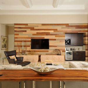 Decorative Wall Panels And Coffred Ceiling For Contemporary Living Room Plus Black Armchair Also Sectional Sofa With Decorative Pillows For Couches And Natural Wood Console Table