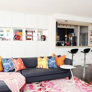 Eclectic Living Room Plus Bar Stool And Bright Colors Also High Gloss With Ikat Rug On Dark Wood Flooring In Kid Friendly Plus Decorative Pillows For Couches And Open Concept